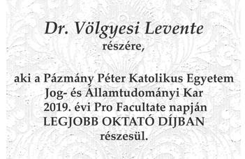 Völgyesi Levente kapta a Legjobb oktató díját a PPKE JÁK-on 2019-ben